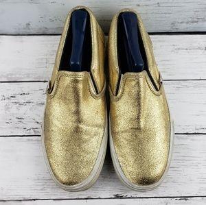 Vans metallic crackled  gold slip on 8